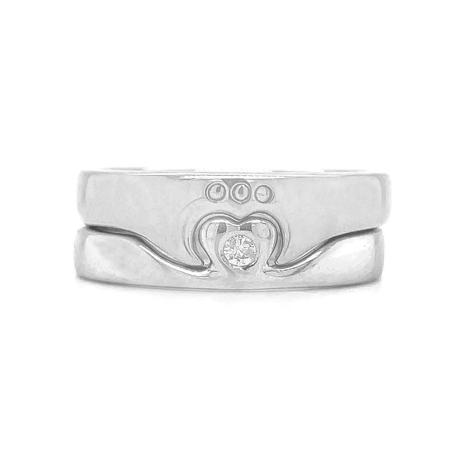 10k White Gold Diamond 2 Part Claddagh Ring