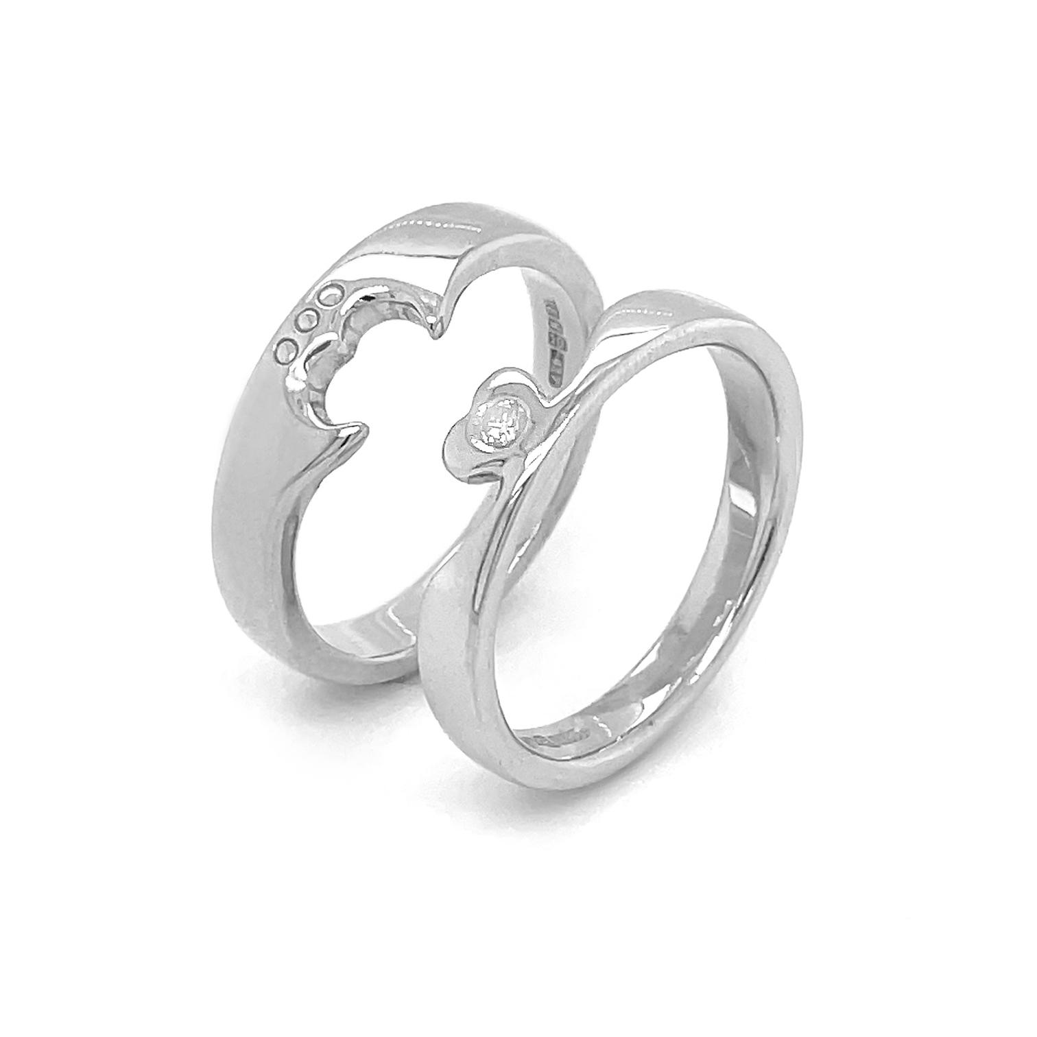 Diamond Claddagh 2 Part Ring