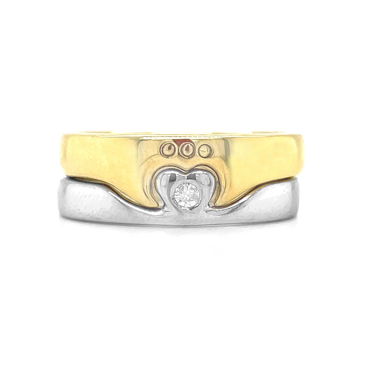 2 Part Diamond Claddagh Ring