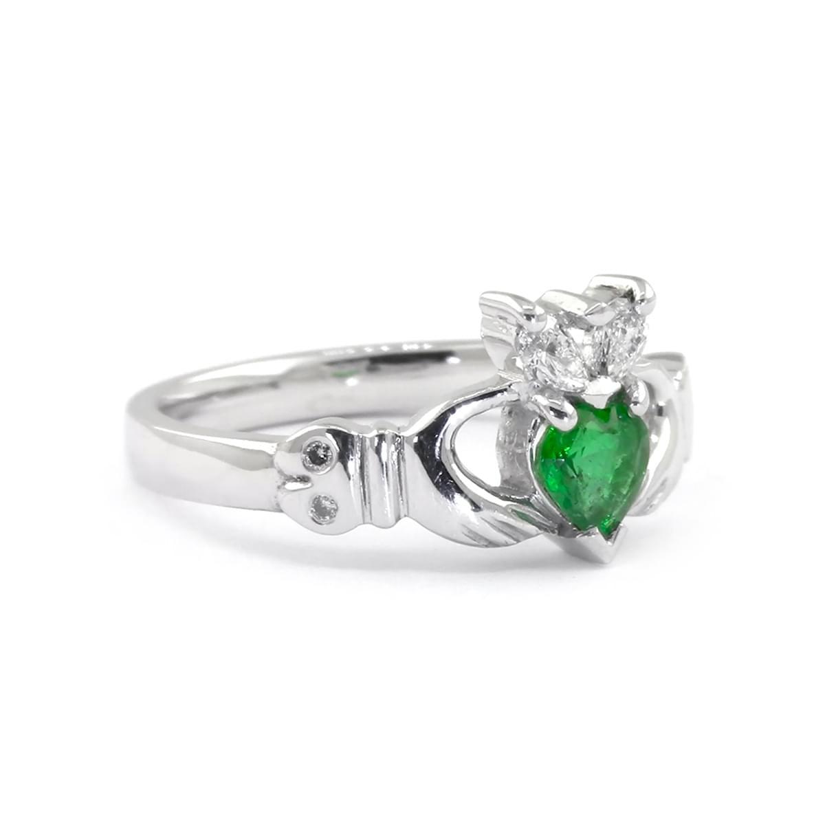 Heartshape Emerald And Brilliant Cut Diamond Claddagh Ring
