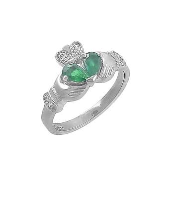 Split Heart Emerald And Diamond Claddagh Ring