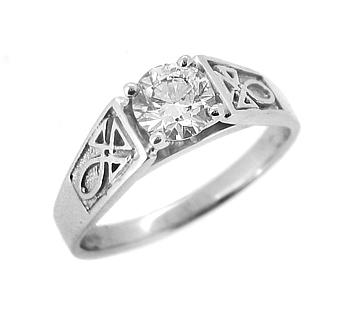 White Gold Single Stone Diamond Celtic Engagement Ring