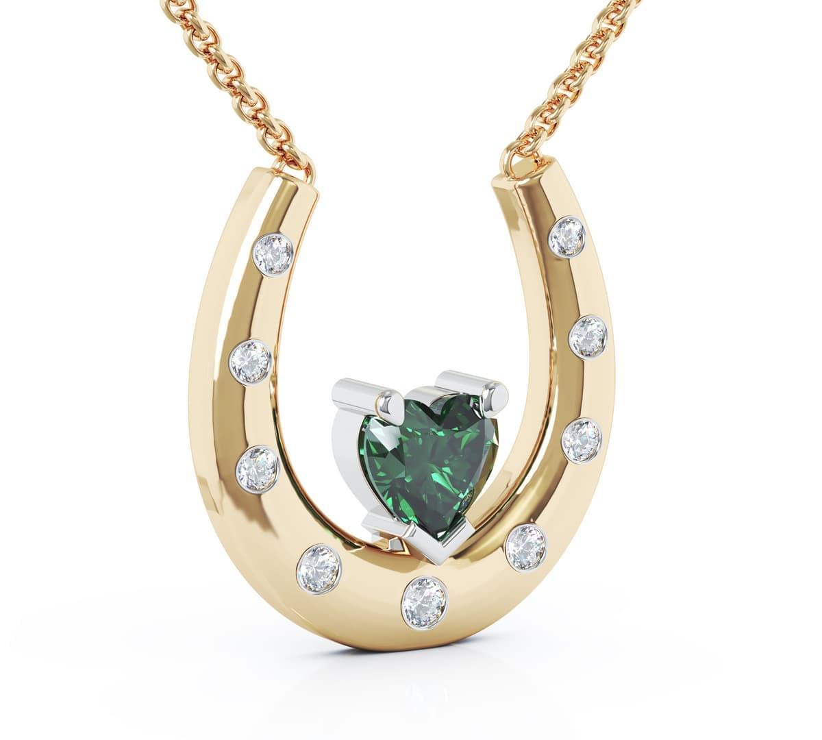 Yellow Gold Emerald & Diamond On Horseshoe Necklace