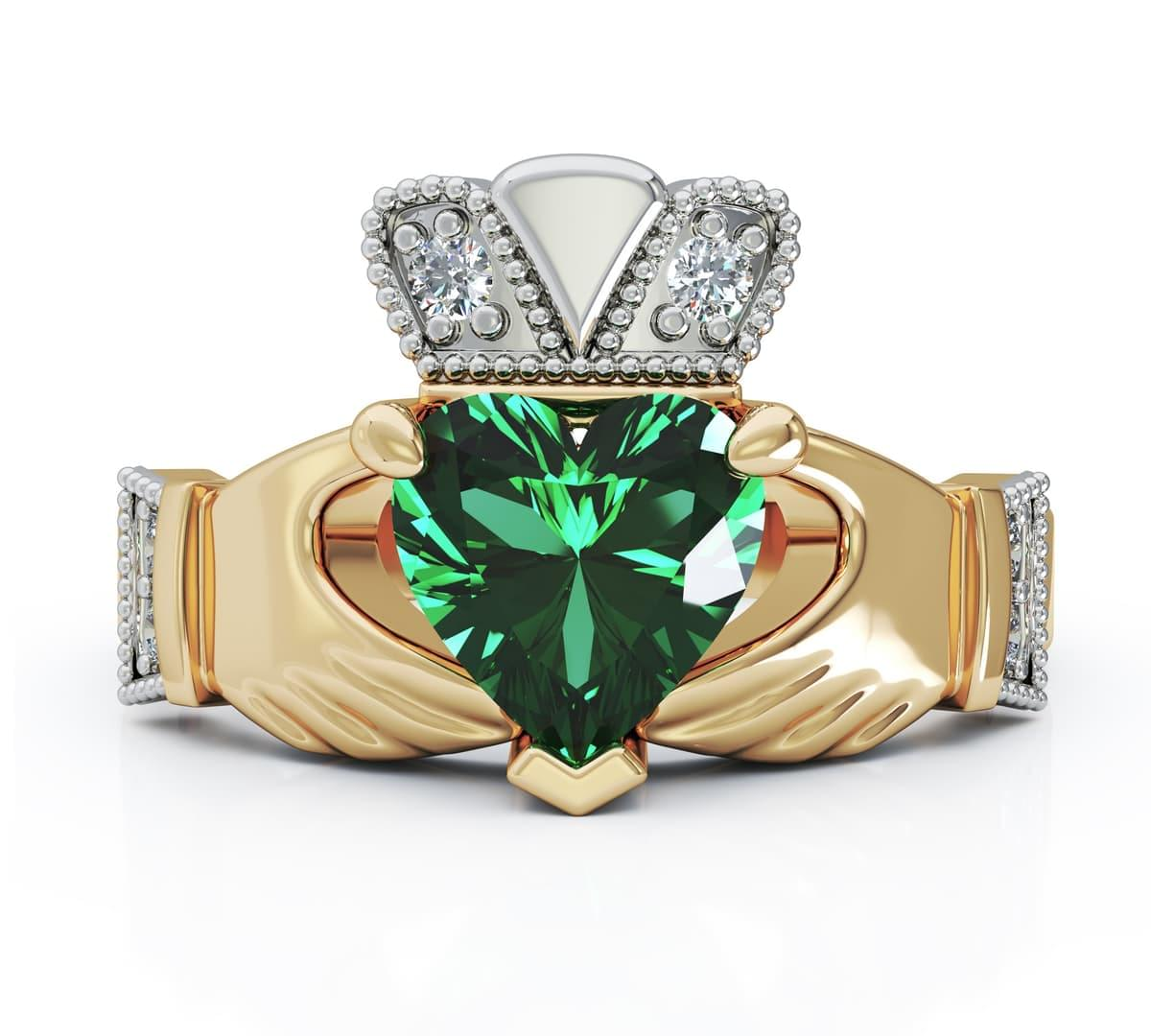 Yellow Gold Heartshape Emerald & Diamond Claddagh Engagement Ring