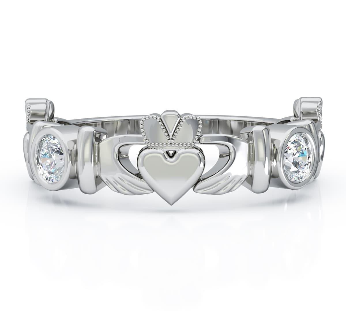 White Gold Claddagh Ring And Diamond