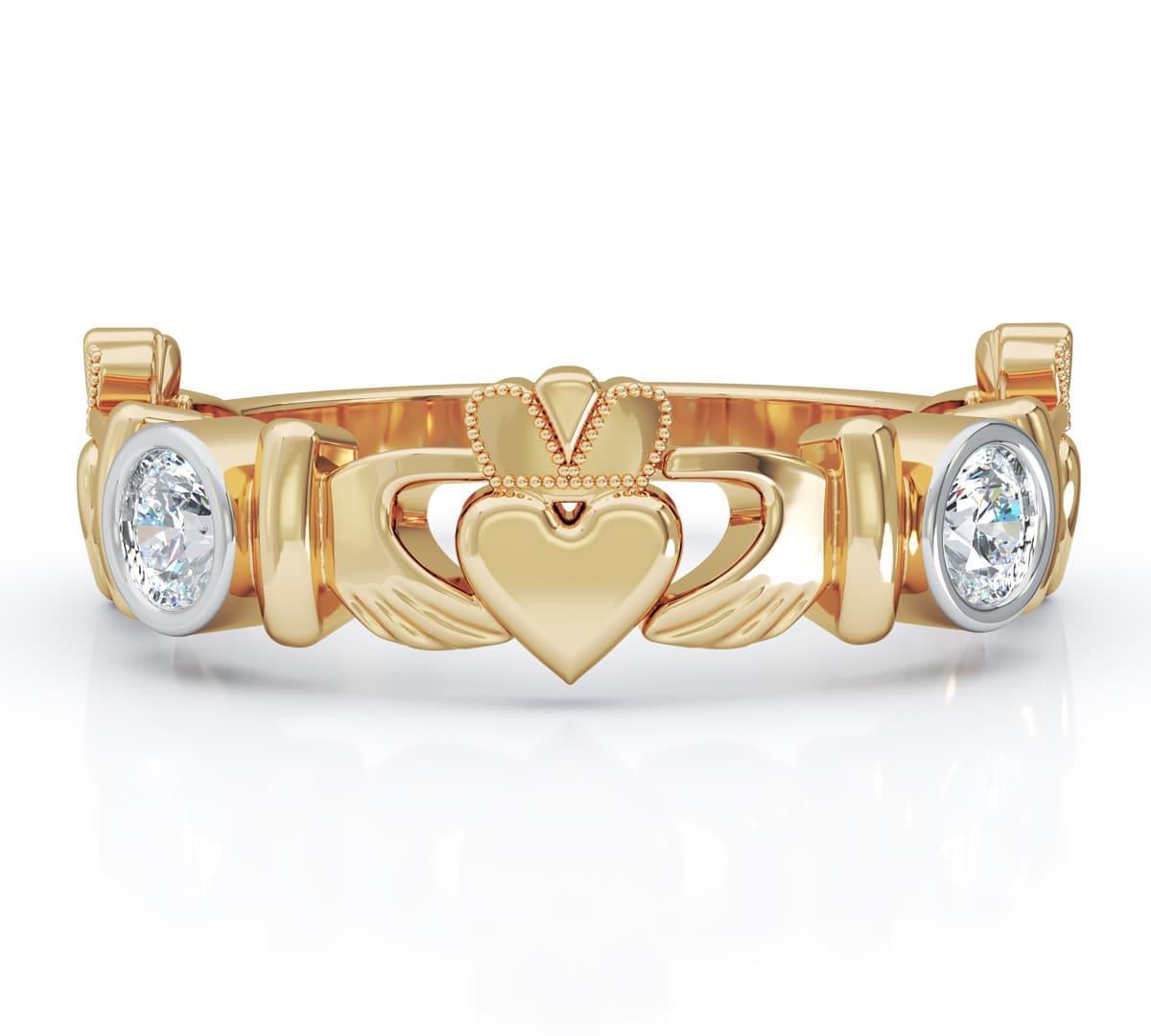 Yellow Gold 3 Stone Diamond Claddagh Ring