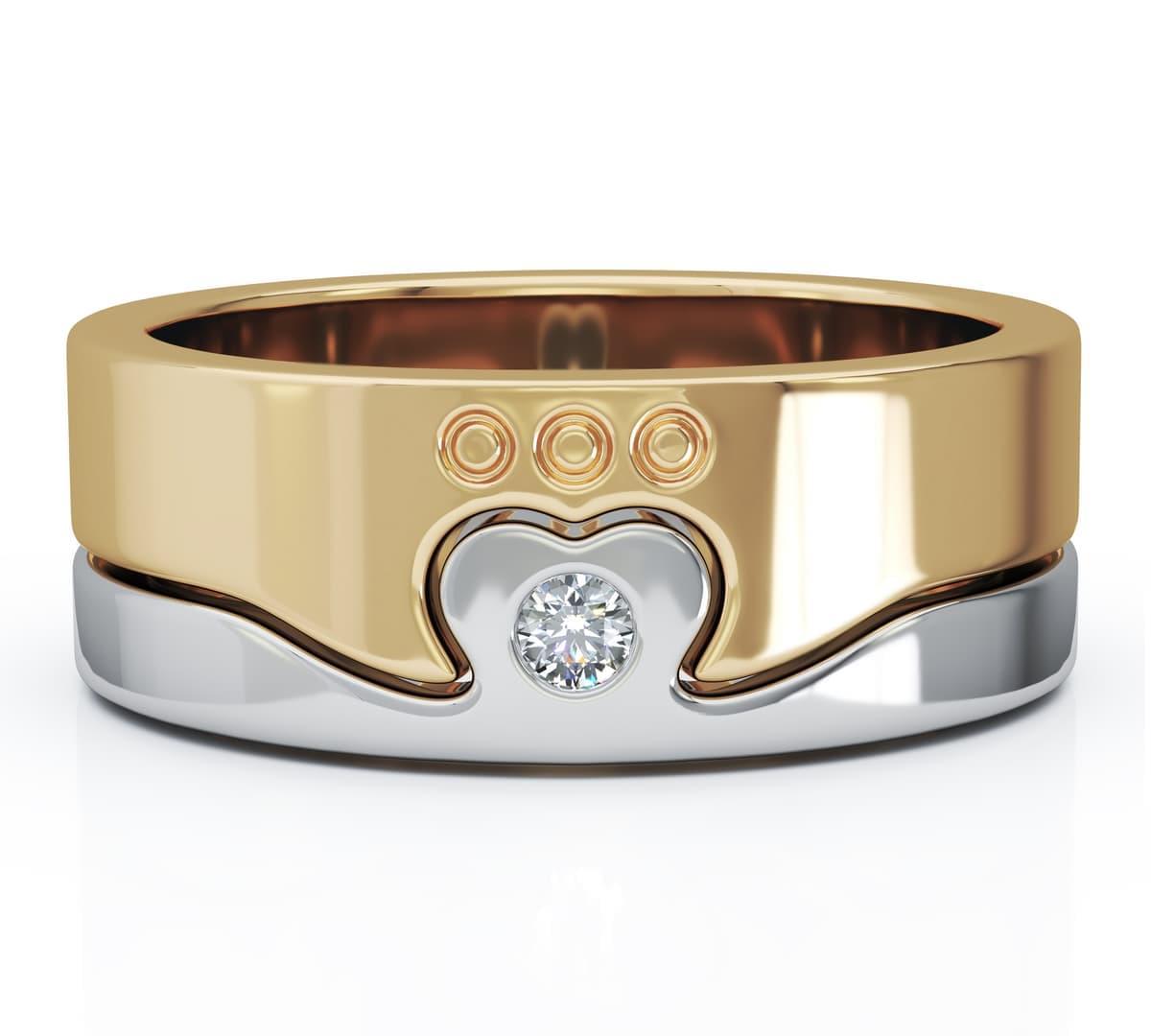 Yellow & White Gold Diamond 2 Part Claddagh Ring