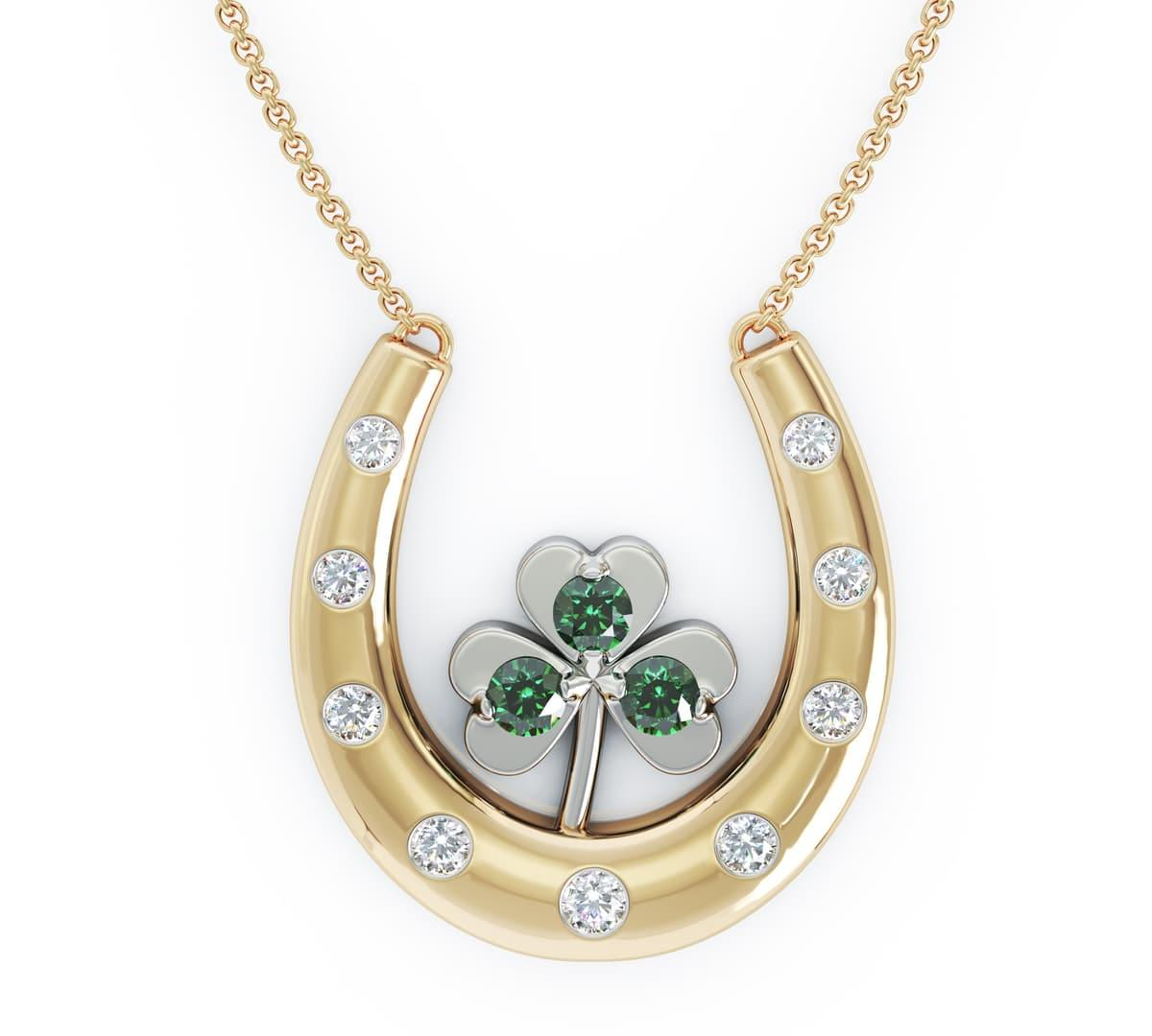 Yellow Gold Emerald & Diamond Shamrock On Horseshoe Necklace