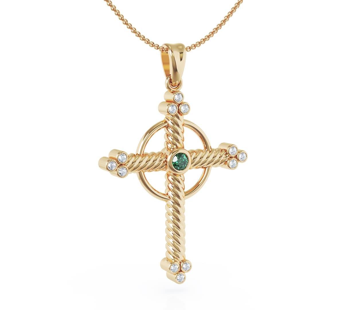 Gold Emerald & Brilliant Cut Diamond Cross Pendant