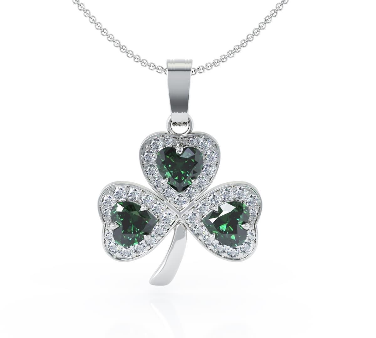 White Gold Heartshape Emerald And Diamond Shamrock Pendant