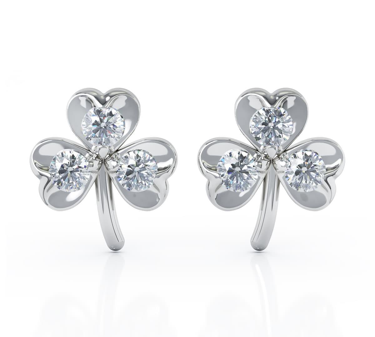White Gold 3 Stone Diamond Shamrock Stud Earrings