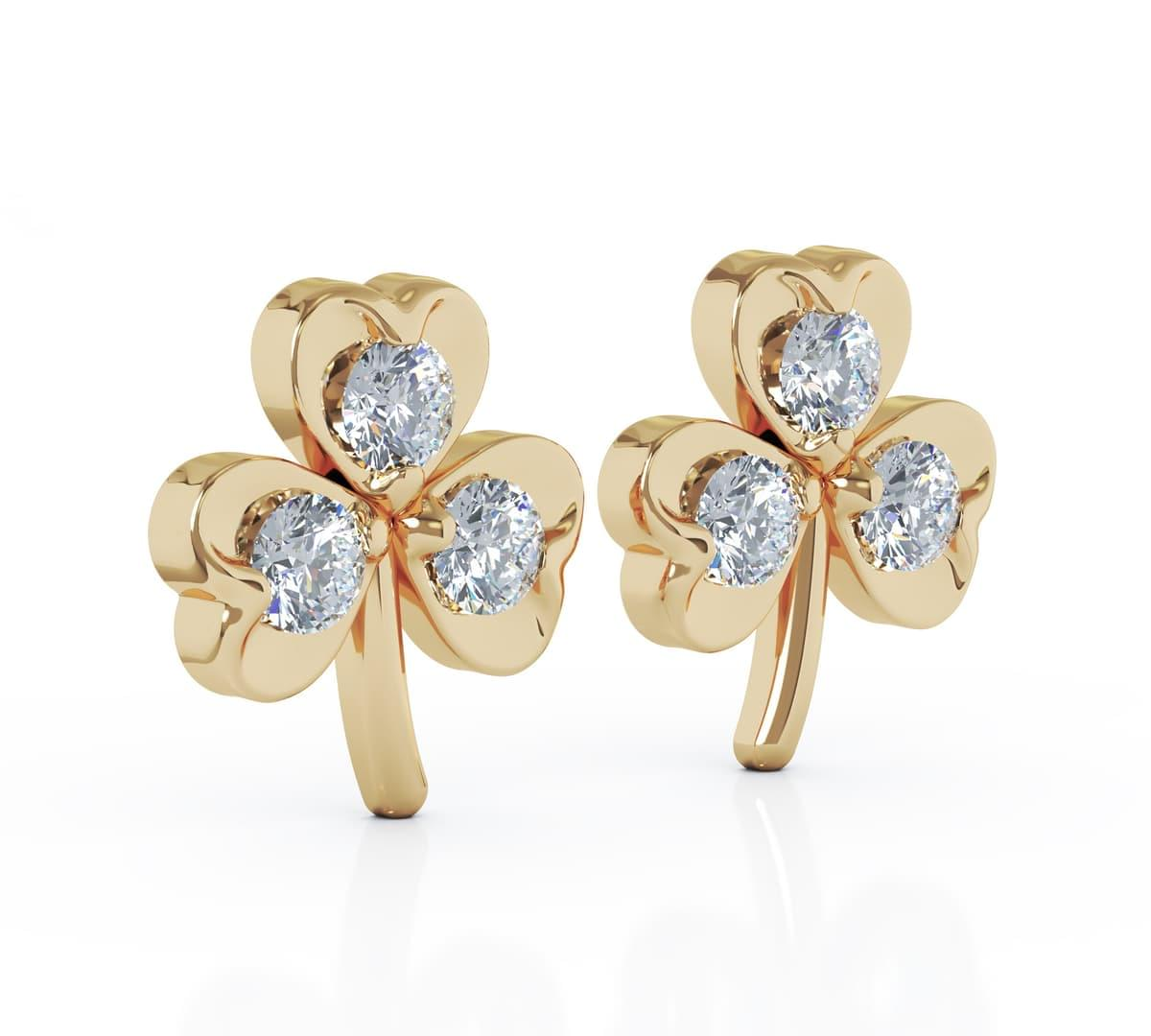 Yellow Gold 3 Stone Diamond Shamrock Stud Earrings