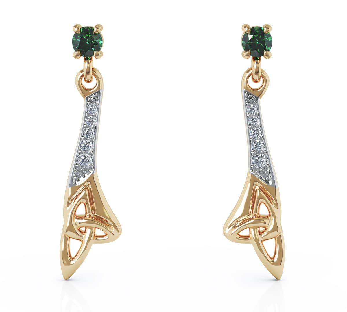 Emerald And Diamond Celtic Drop Earrings