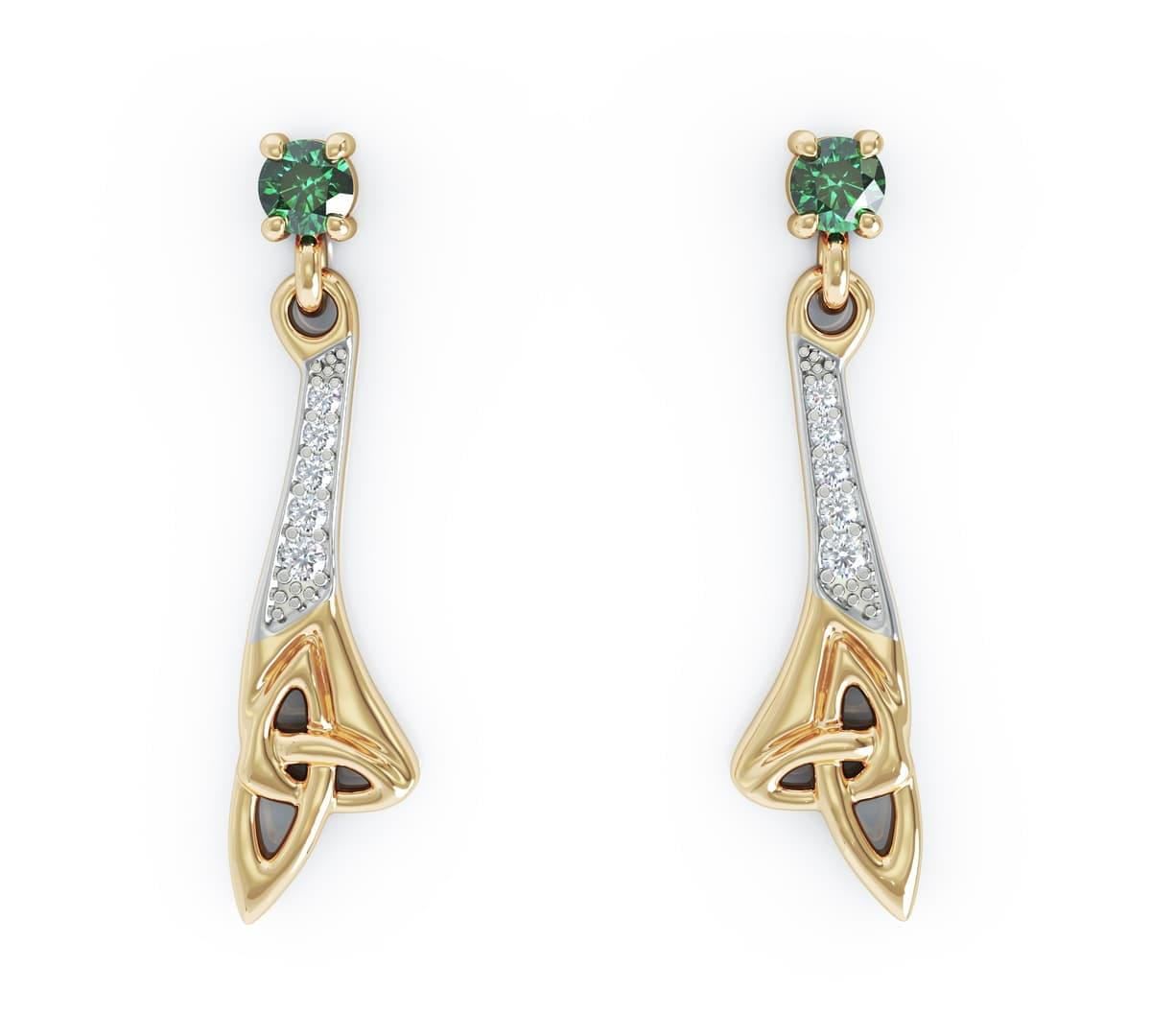 Yellow Gold Emerald & Diamond Celtic Drop Earrings