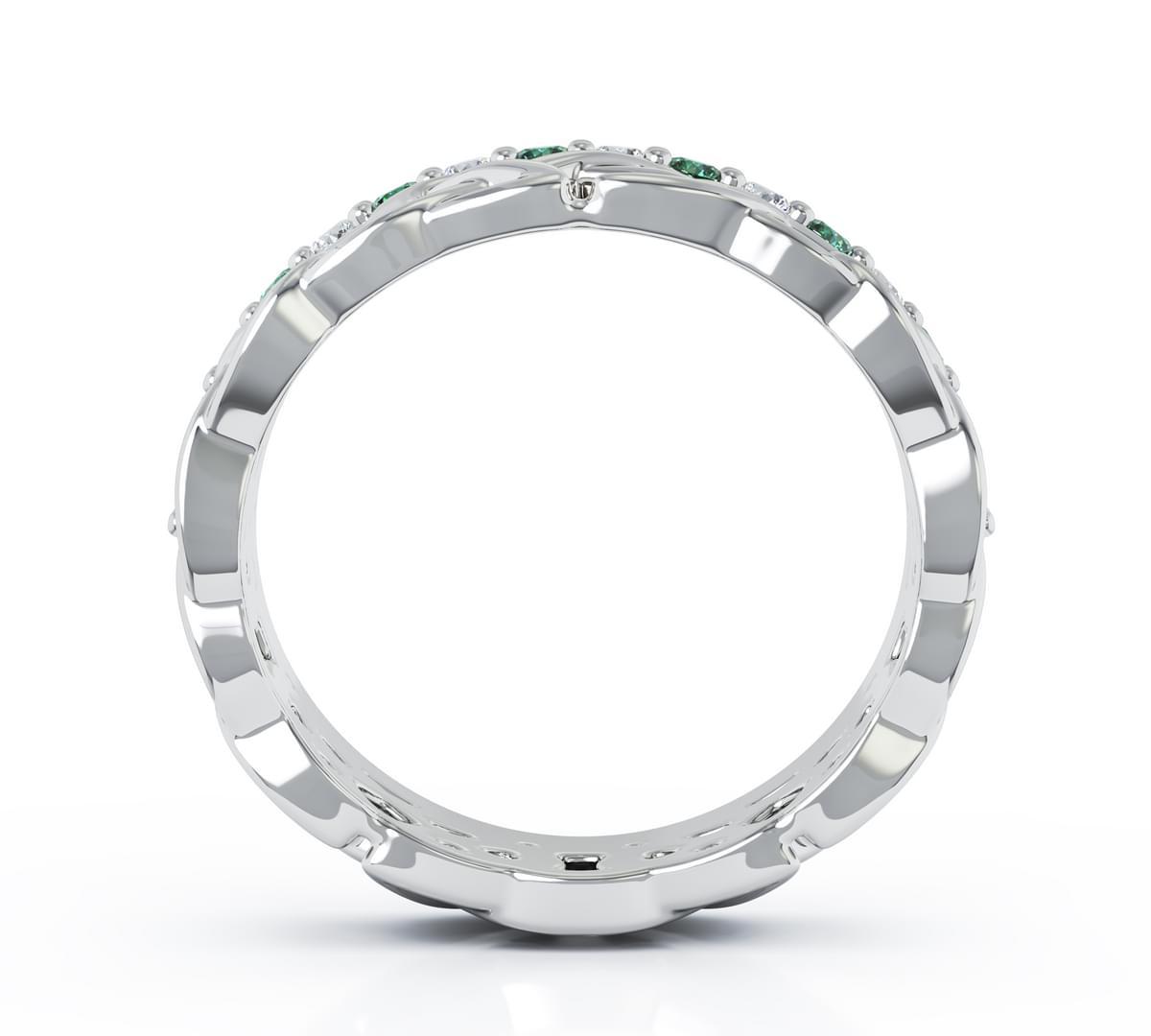 White Gold Coloured Green Diamond Celtic Ring
