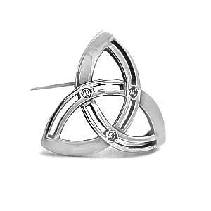 White Gold Diamond Trinity Knot Celtic Brooch