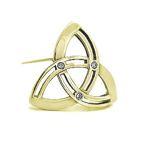 Diamond And Gold Trinity Knot Celtic Brooch In Gold