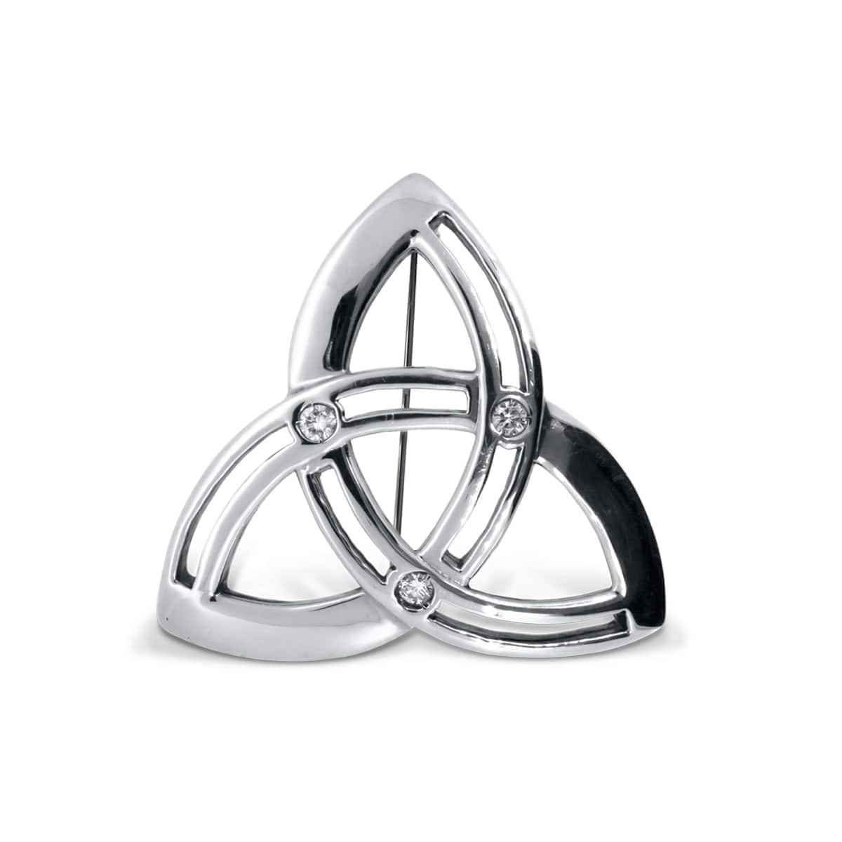 Emerald Trinity Knot Celtic Brooch