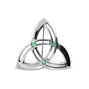 White Gold Emerald Trinity Knot Celtic Brooch