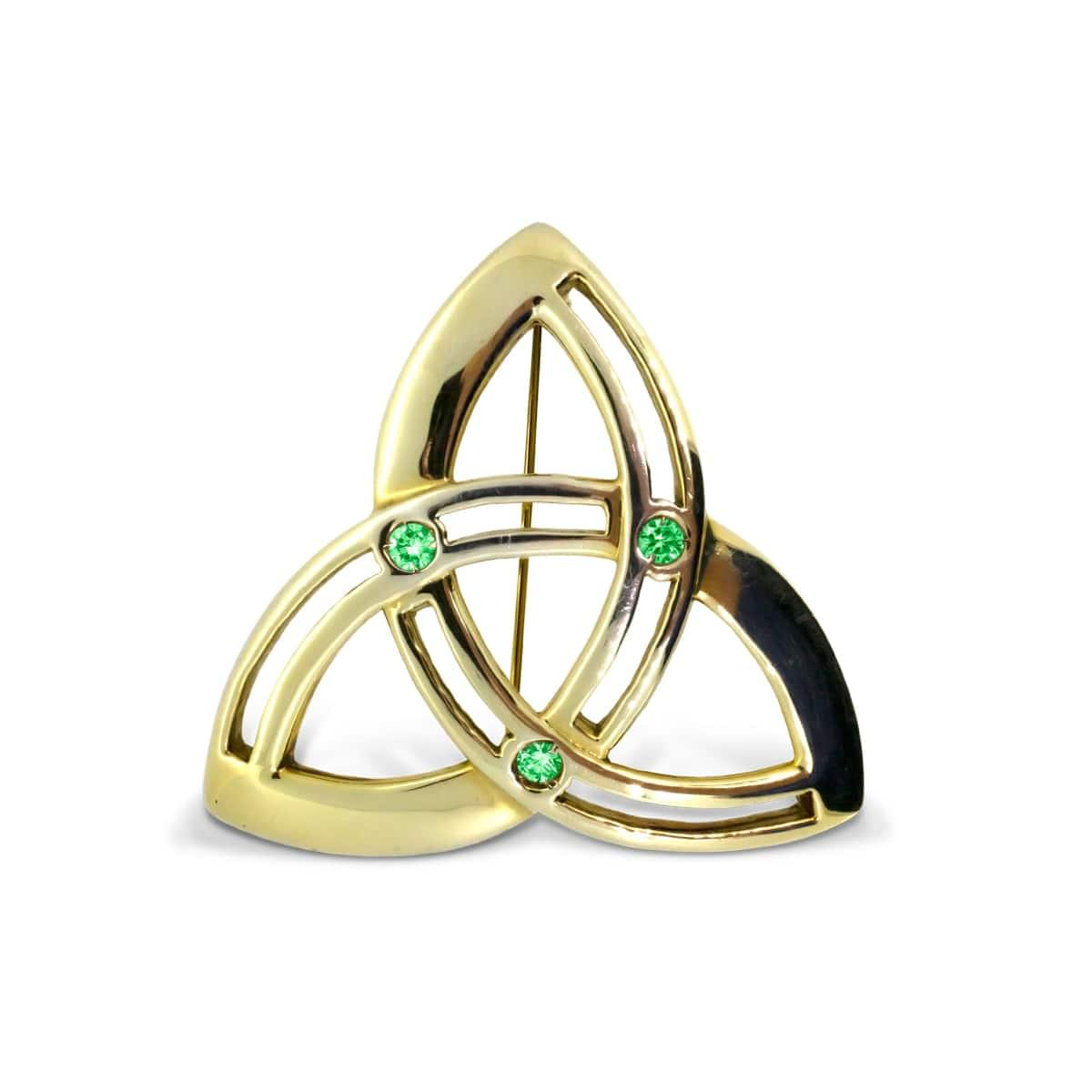 Yellow Gold Emerald Trinity Knot Celtic Brooch