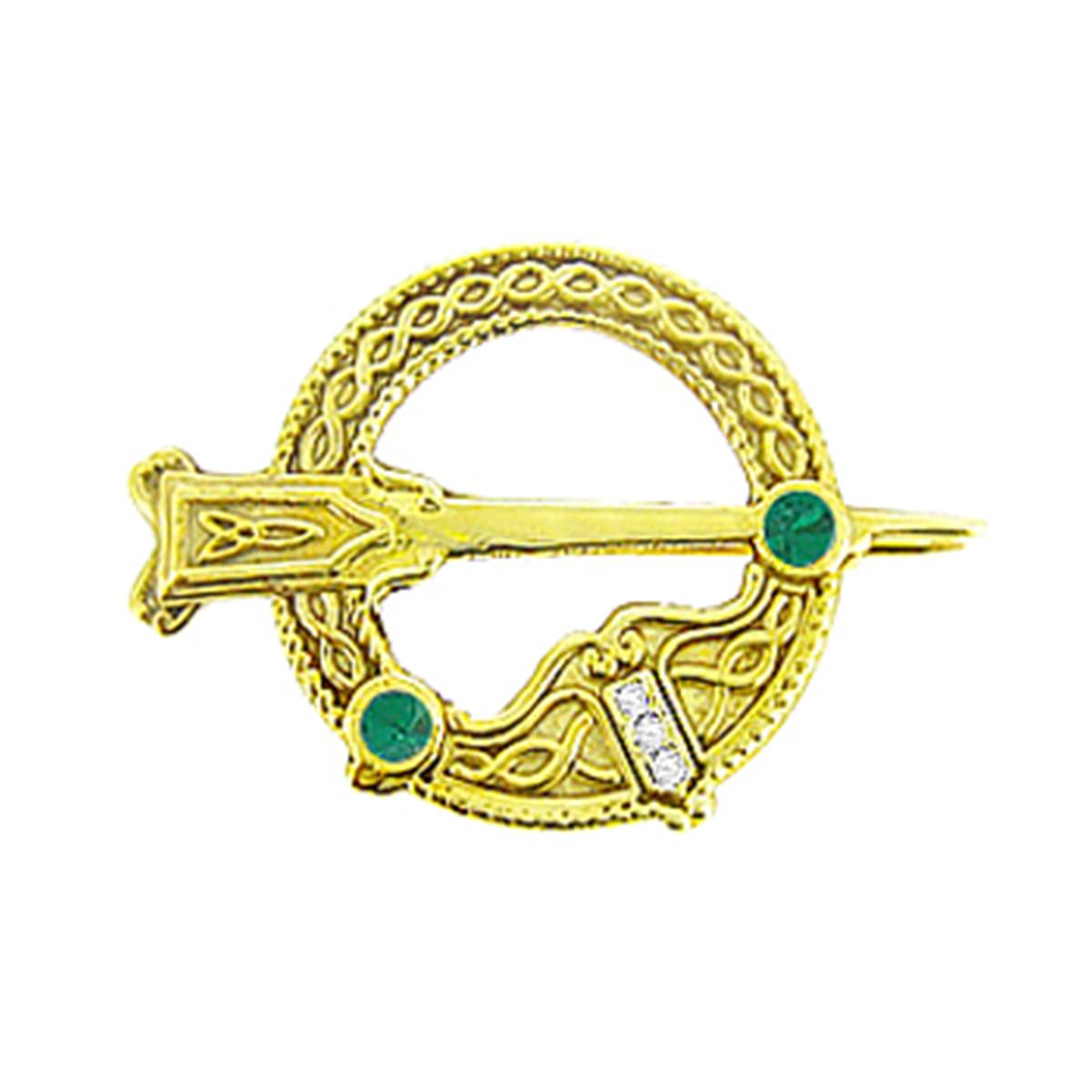 Emerald And Brilliant Cut Diamond Stamped Tara Brooch