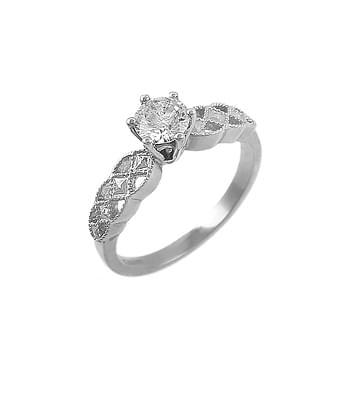 White Gold Single Stone Diamond Celtic Solitaire Ring