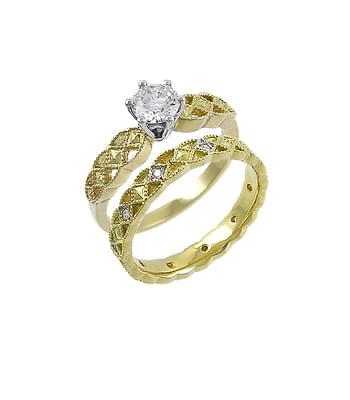 Yellow Gold Single Stone Diamond Celtic Solitaire Ring Set