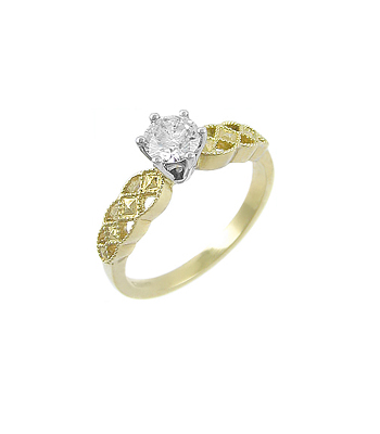 Yellow Gold Single Stone Diamond Celtic Solitaire Ring
