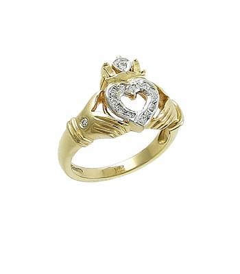 Yellow Gold Diamond Open Heart Claddagh Ring