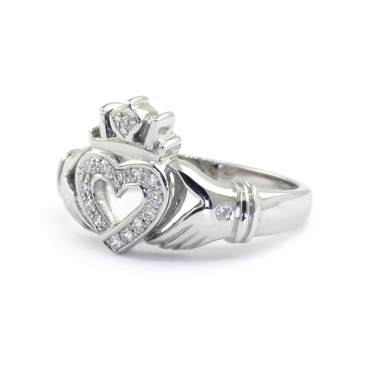 White Gold Diamond Open Heart Claddagh Ring