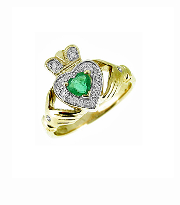 Yellow Gold Heartshape Emerald and Diamond Claddagh Ring