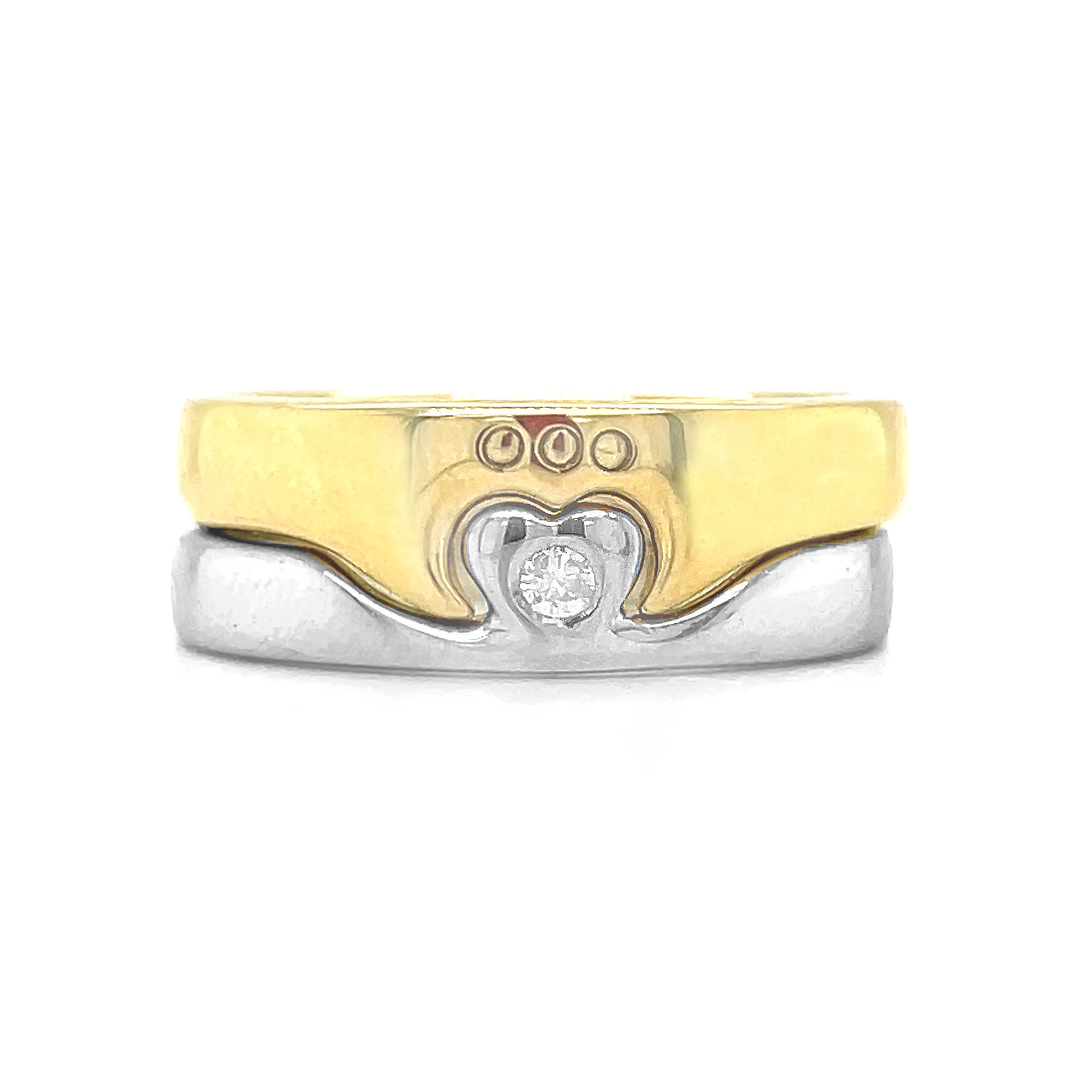 10k Yellow & White Gold 2 Part Claddagh Ring