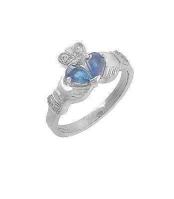 Split Heart Sapphire & Diamond Claddagh Ring