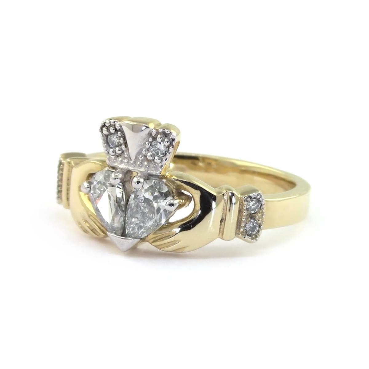 Yellow Gold Split Heart Diamond Claddagh Engagement Ring