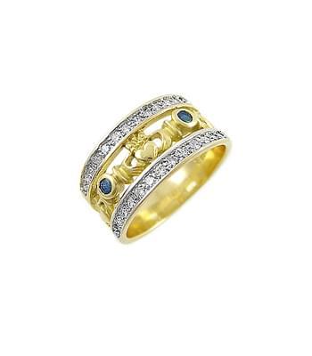 Sapphire Diamond Claddagh Ring