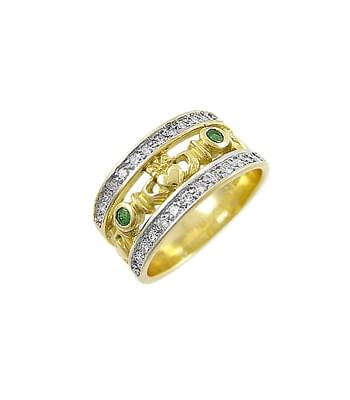 Double Row Emerald And Diamond