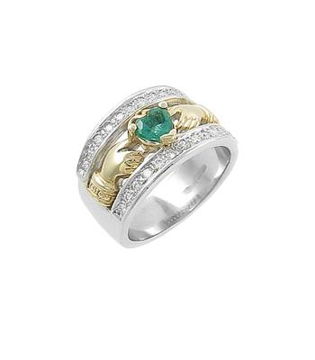 White & Yellow Gold Heartshape Emerald & Diamond Claddagh Ring
