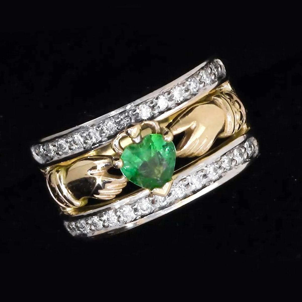 Yellow Gold Heartshape Emerald & Diamond Claddagh Ring