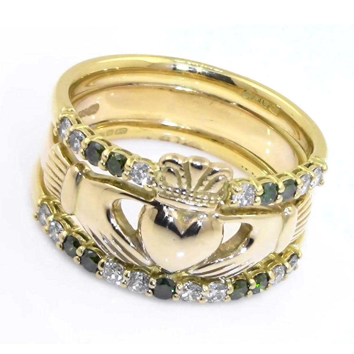 Gold Claddagh Ring With White And Green Diamonds