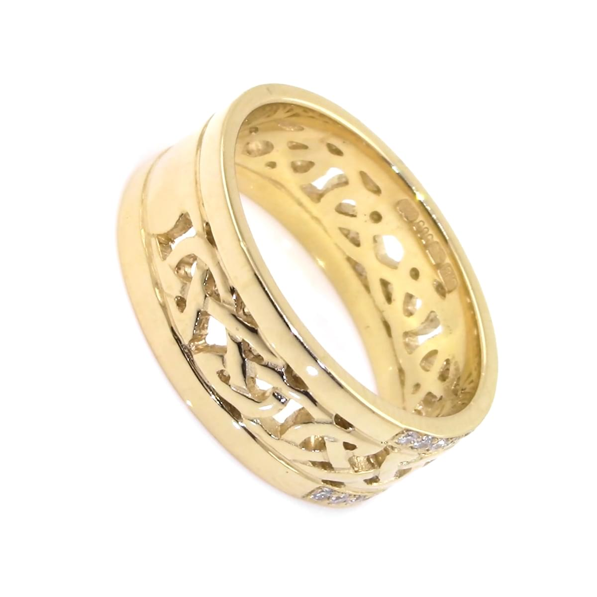 Gold Double Row. Diamond Celtic Knot Ring