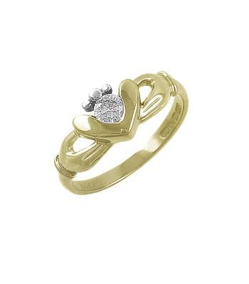 Gold Single Stone Diamond Claddagh Ring