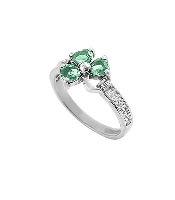 Yellow Gold Heartshape Emerald & Diamond Shamrock Ring