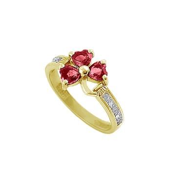 White Gold Heartshape Ruby & Diamond Shamrock Ring