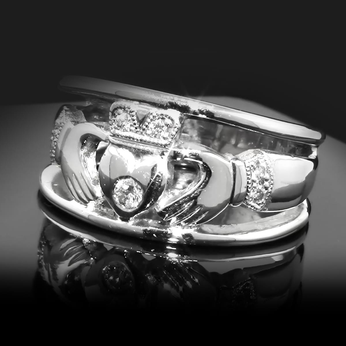 White Gold Diamond Claddagh Ring