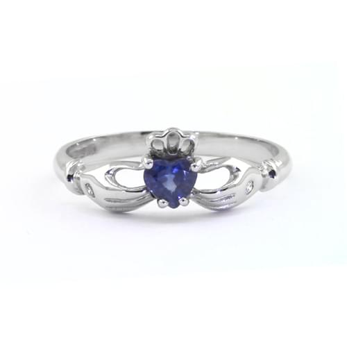 Heartshape Sapphire Diamond Claddagh Ring In White Gold Hands