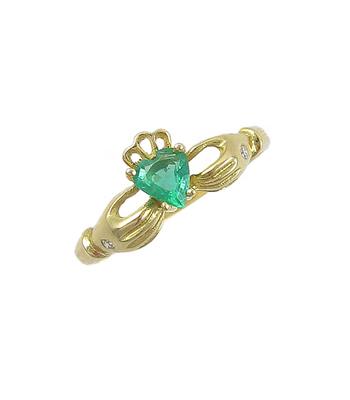 White Gold Heartshape Emerald & Diamond Claddagh Ring