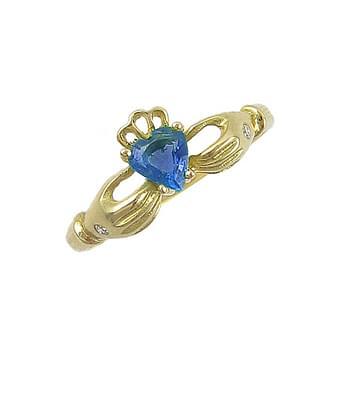 Heartshape Sapphire Diamond Claddagh Ring