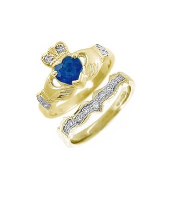 Yellow Gold Heart Sapphire & Diamond Claddagh Ring Set