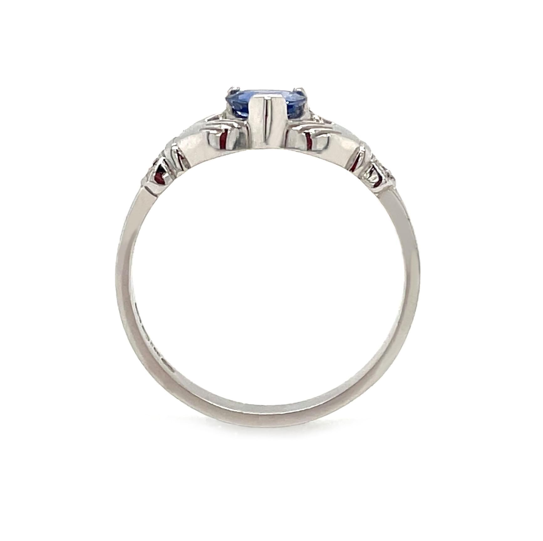 White Gold Heart Sapphire & Diamond Claddagh Ring