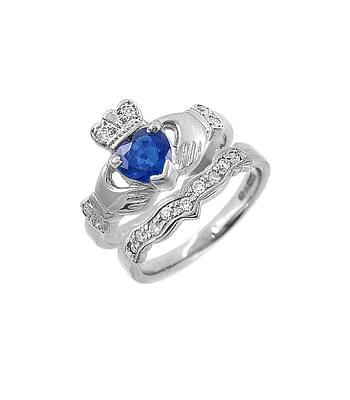 White Gold Heart Sapphire & Diamond Claddagh Ring Set